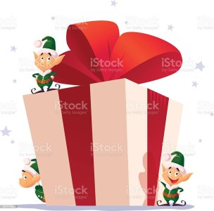 royalty free christmas elf isolated with gifts in box in a green vector flat christmas elf