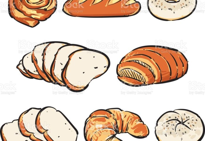 Vector Fresh Bread On A White Background Hand Drawn Bakery Vector