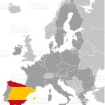 Vector Graphic Map Of Europe With European Union Member States With Spain Marked With Flag Stock Illustration Download Image Now Istock