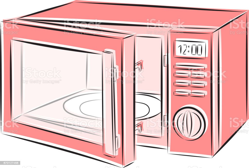 vector illustration of a microwave oven in shades of pink on a white background stock illustration download image now istock