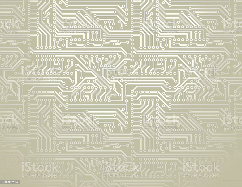 Vector Silver Circuit Board Pattern Background Stock