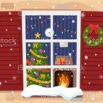Blick Auf Das Gemutliche Weihnachten Wohnzimmer Mit Baum Und Kamin Durch Das Fenster Stock Vektor Art Und Mehr Bilder Von Abstrakt Istock