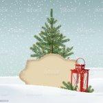 Vetores De Vintage Christmas Greeting Card Snowy Winter Landscape With Christmas Tree E Mais Imagens De Branco Istock