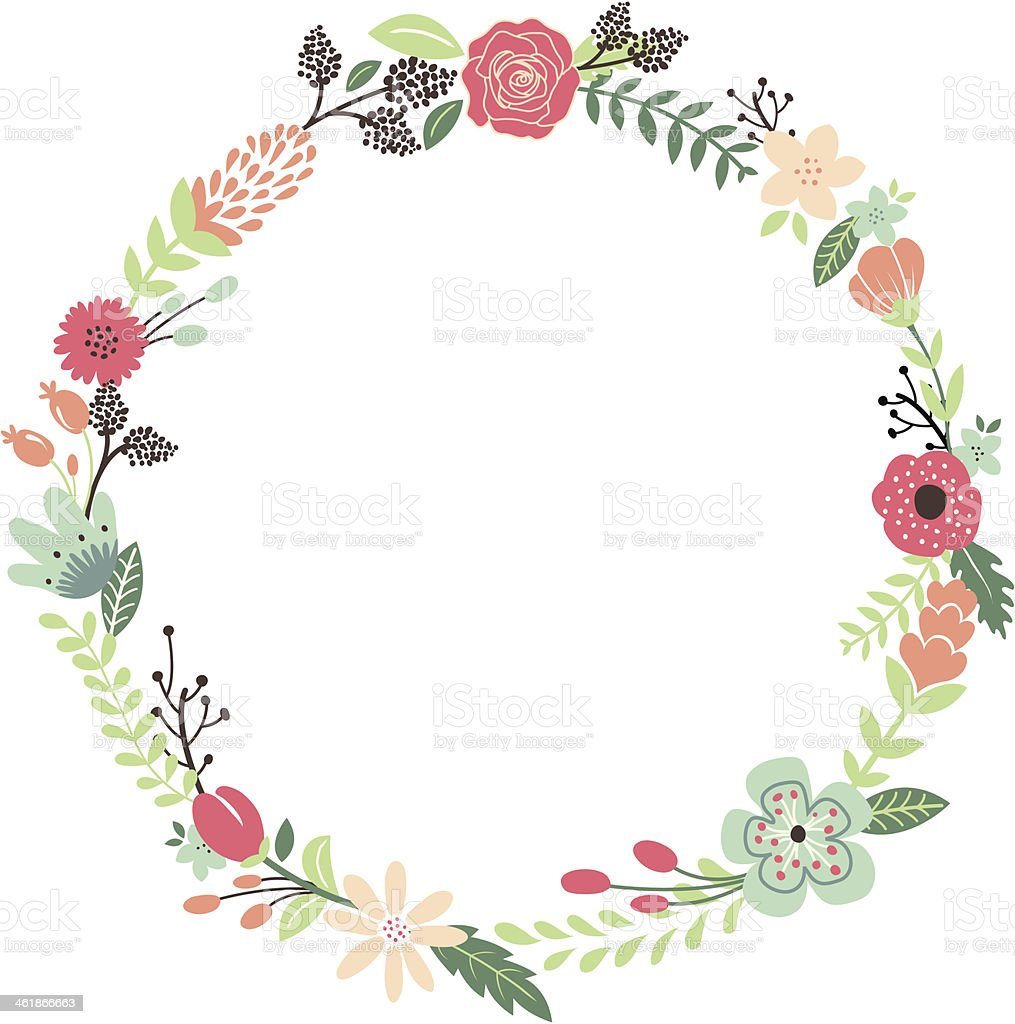 Vintage Flowers Wreath Stock Vector Art Amp More Images Of