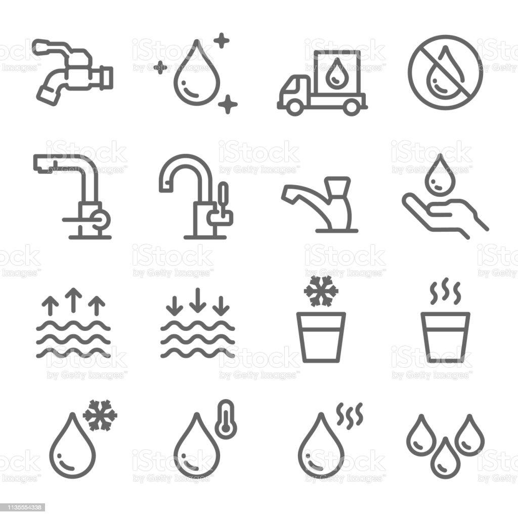 wassericonset enthalt icons wie tap faucet hot water no water delivery und vieles mehr ausgedehnten stroke stock vektor art und mehr bilder von behalter istock
