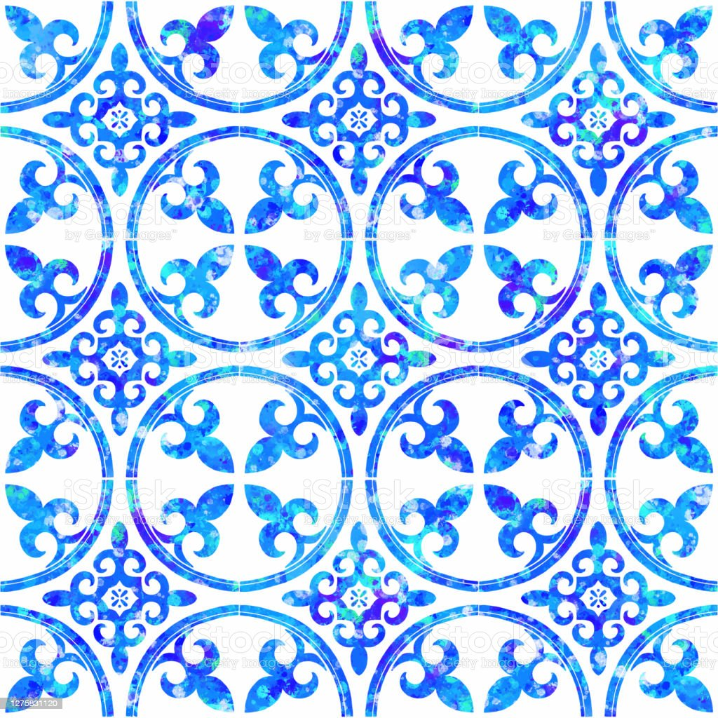 watercolor hand painted navy blue tile seamless moroccan ceramic pattern vector tile pattern lisbon arabic floral mosaic mediterranean seamless navy blue ornament stock illustration download image now istock
