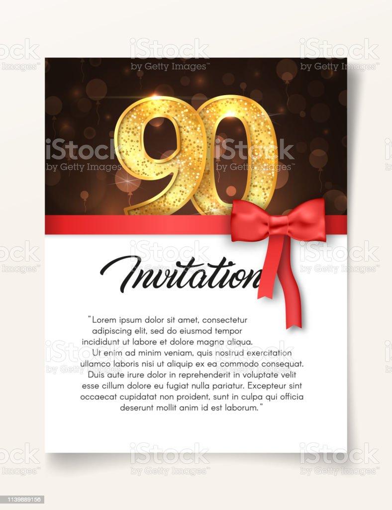modele de carte dinvitation de mariage au jour de lanniversaire 90 avec illustration vectorielle de texte abstrait invitezle a 90 eme anniversaire de la veille vecteurs libres de droits et plus d images