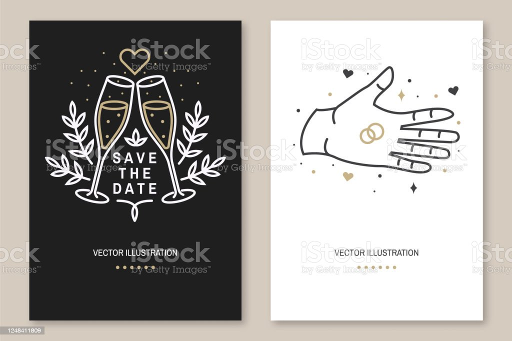wedding invitation card template vector thin line geometric outline icon for save the date invitation card modern minimalist design with rings champagne glass leaf flowers stock illustration download image now istock