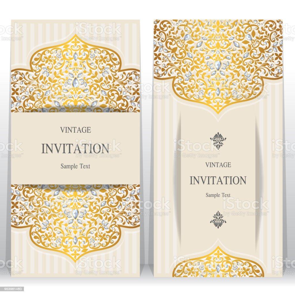 https www istockphoto com fr vectoriel mod c3 a8les de carte invitation noces dor c3 a0 motifs et cristaux sur papier couleur de gm953981460 260447695