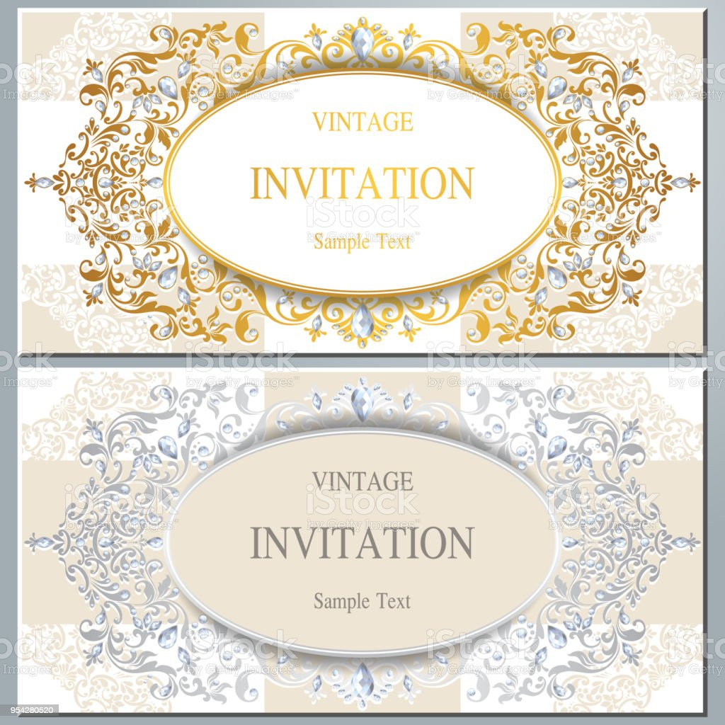 https www istockphoto com vector wedding invitation card templates with gold patterned and crystals on paper color gm954280520 260538281