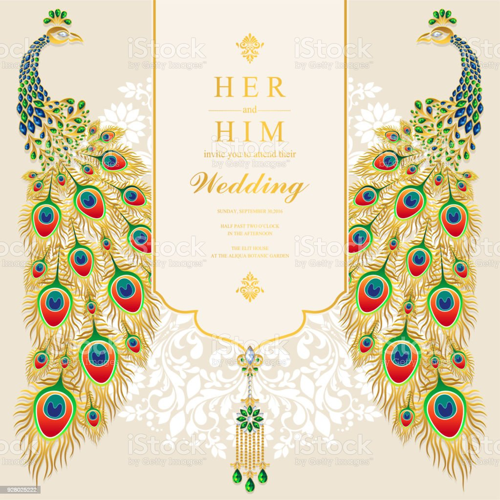 wedding invitation card templates with gold peacock feathers patterned and crystals on paper color background stock illustration download image now istock