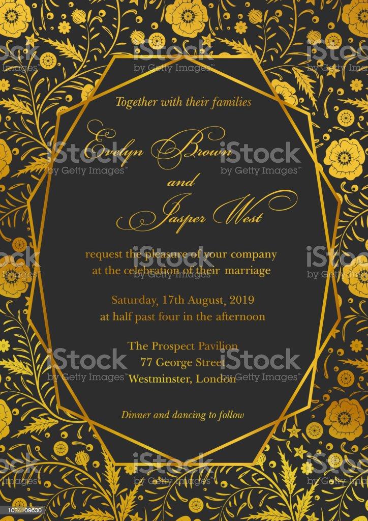 gold wedding invitation card design design