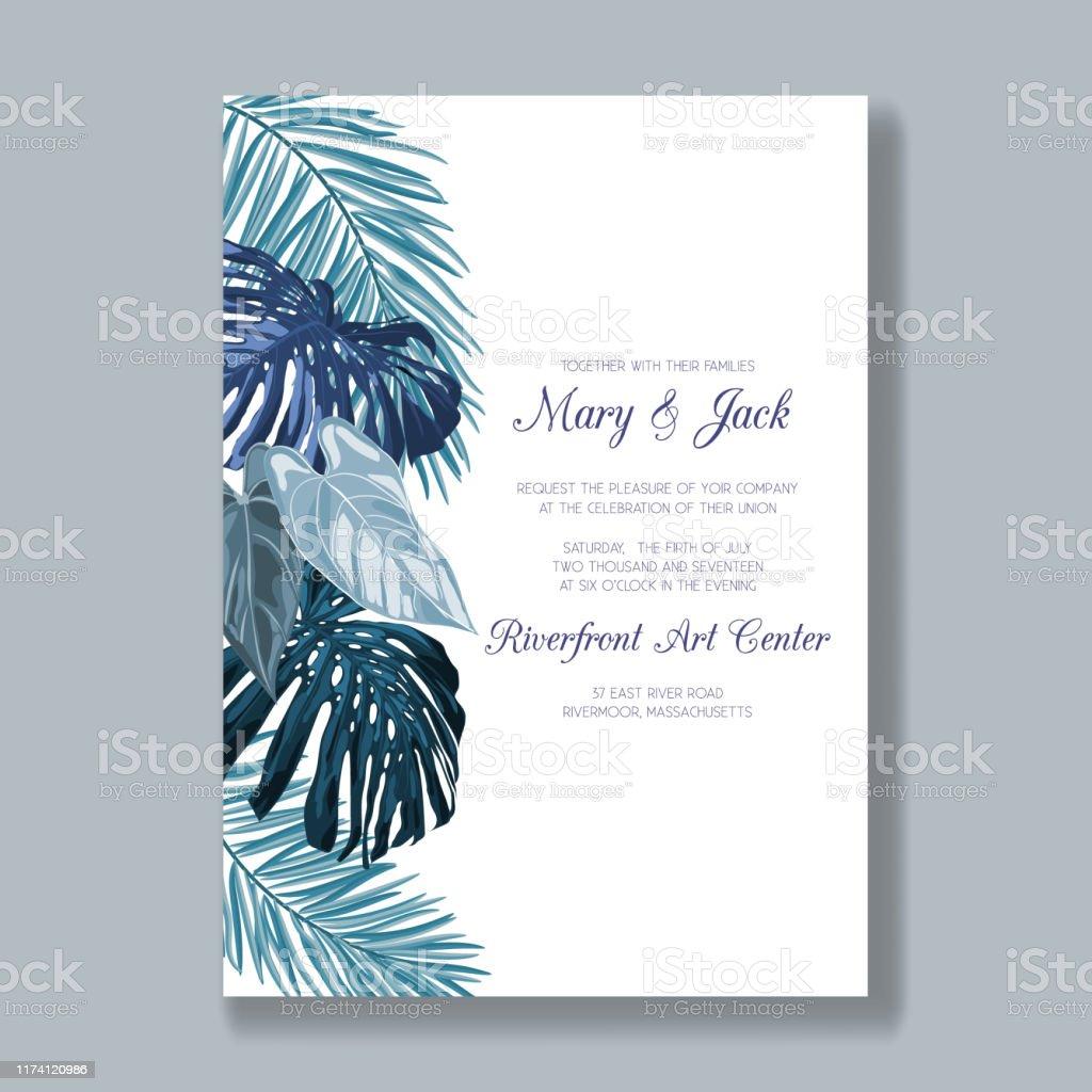 https www istockphoto com fr vectoriel mod c3 a8le dinvitation de mariage avec des feuilles tropicales carte de remerciement gm1174120986 326419676