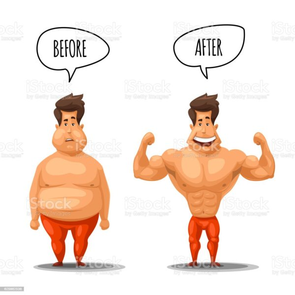Weight Loss Man Before And After Diet Vector Illustration ...