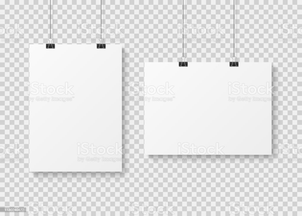 white blank poster template presentation wall paper posters photo canvas clean advertising hanging banner vector isolated mockup stock illustration download image now istock