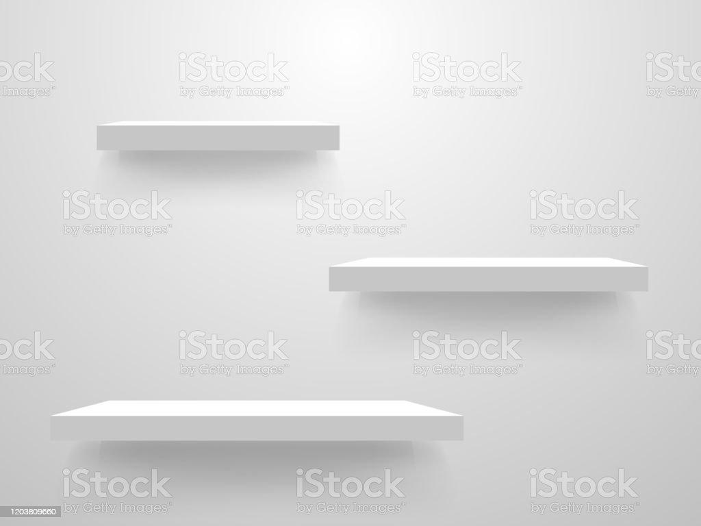 etageres blanches sur une maquette de mur modele vide detagere sur le fond leger collection propre detagere etageres realistes de magasin conception interieure a la maison illustration de vecteur vecteurs libres de