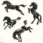 Wild Horses Silhouette Stock Illustration Download Image Now Istock