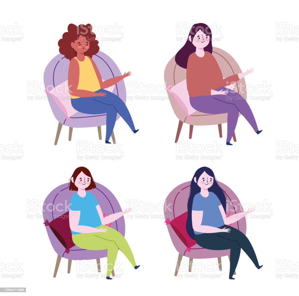 personnages de femmes assis sur des chaises avec des coussins de dessin anime vecteurs libres de droits et plus d images vectorielles de adulte istock