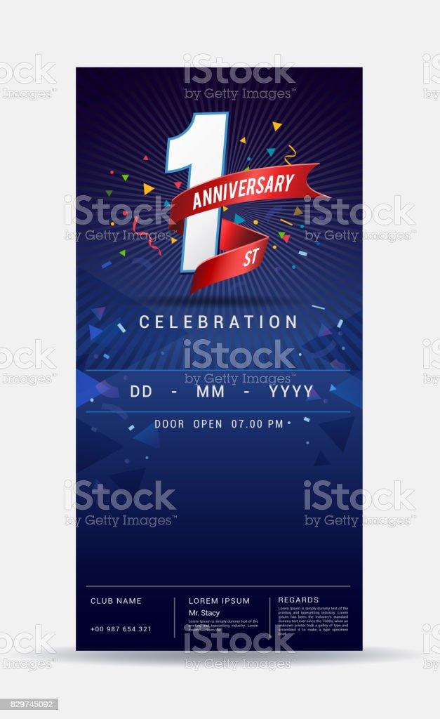 carte dinvitation anniversaire 1 an celebration or brillant modele design illustration vectorielle vecteurs libres de droits et plus d images vectorielles de affaires istock