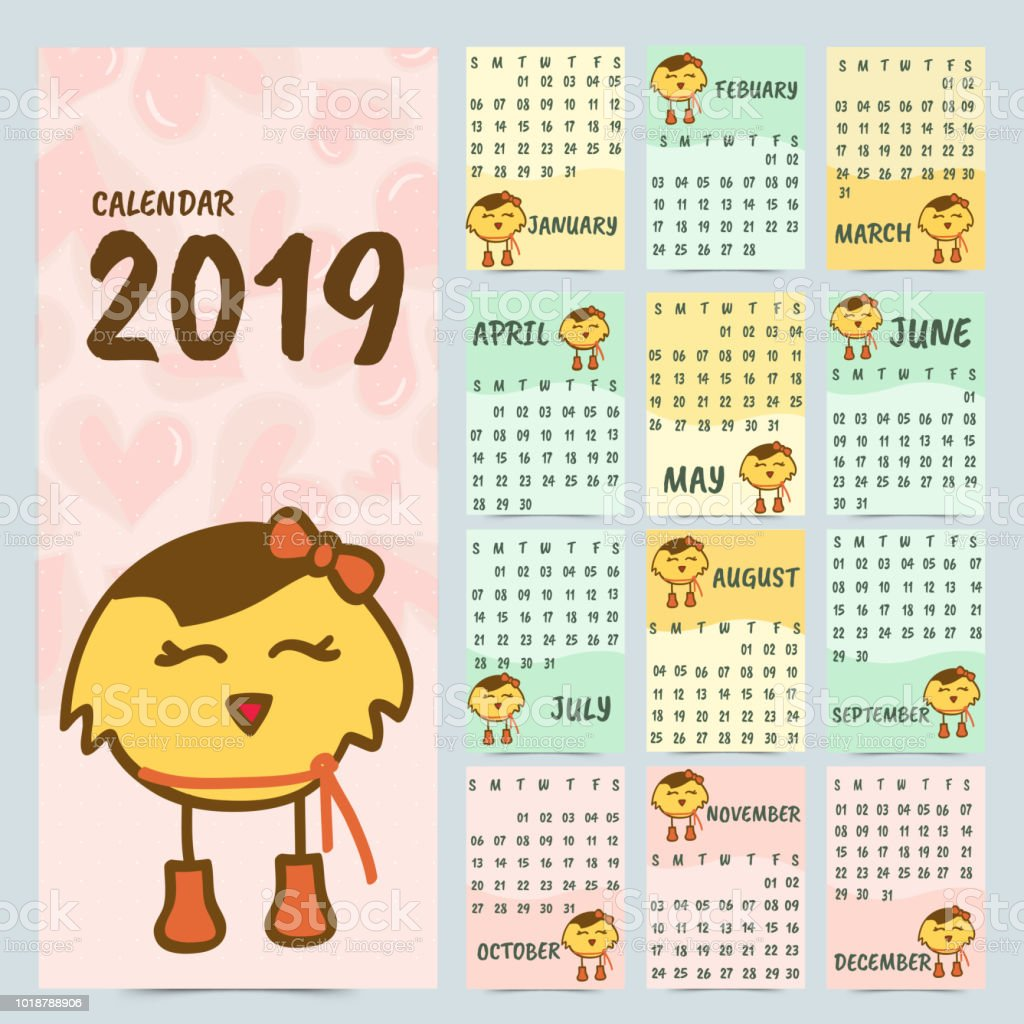 2019 Yearly Calendar Design With Cute Cartoon Character