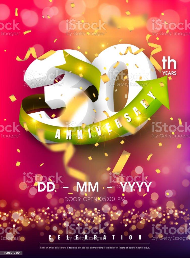 https www istockphoto com fr vectoriel carte dinvitation anniversaire 30 ans mod c3 a8le de c c3 a9l c3 a9bration gm1096077504 294283096