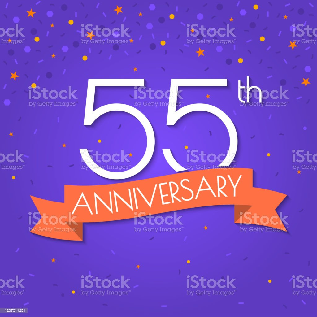 55 years anniversary logo isolated on confetti background 55th anniversary banner with ribbon birthday celebration party invitation card design element vector illustration stock illustration download image now istock