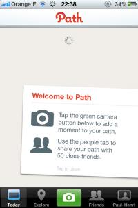 Écran d'accueil de l'application Path