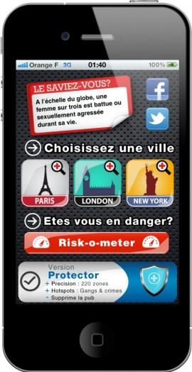 Écran d'accueil de l'app BeSafe!