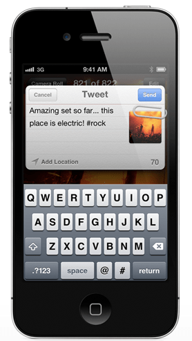 Tweet d'une photo via iOS 5 (iPhone)