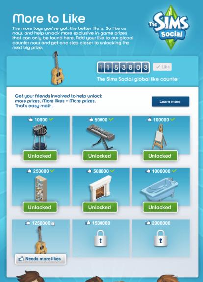 Like pour débloquer des objets, Les Sims Social