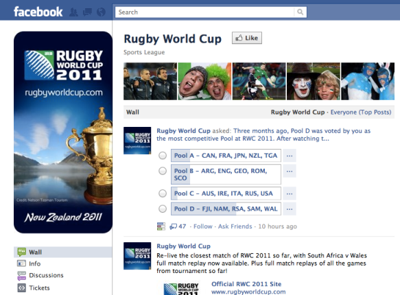 Page Facebook Rugby World Cup
