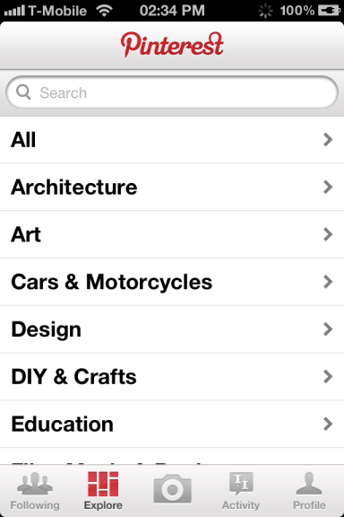 Pinterest, l'application mobile sur iPhone