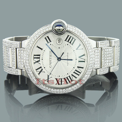 Custom Cartier Ballon Diamond Watch for Men 14 37ct