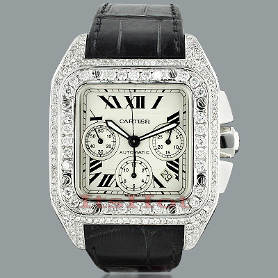 Cartier Santos 100 Mens Custom Diamond Watch 13 00ct Cartier Santos 100 Mens Custom Diamond Watch 13ct