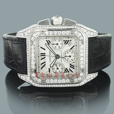 Custom Cartier Mens Diamond Watch 9 64ct Santos 100