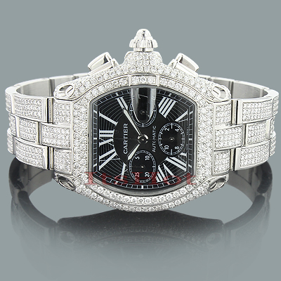 Custom Cartier Roadster Diamond Watch for Men 17 99ct fully Iced Out