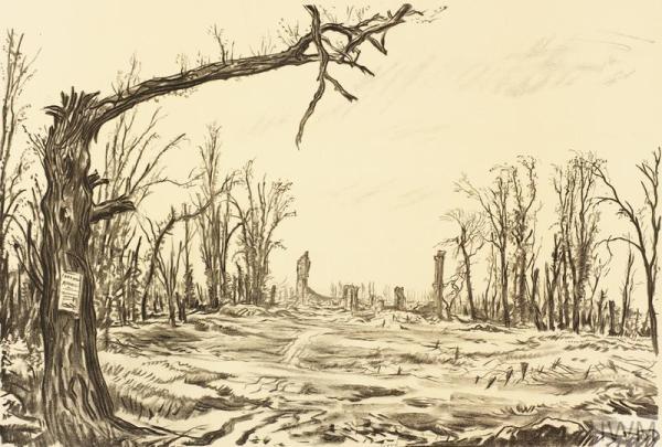 War Drawings By Muirhead Bone: The Château, Foucaucourt ...