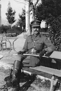 Lieutenant Colonel H.F. Byrne, D.S.O., A.D.S.O. XVI Corps Salonika Force, in the White Tower Gardens, Salonika, November 1917.