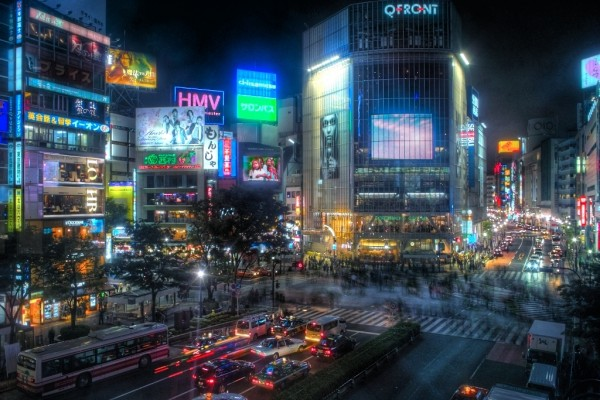 Shibuya at nighttime. Source.