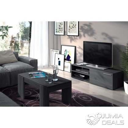 meuble tv contemporain melamine gris cendre