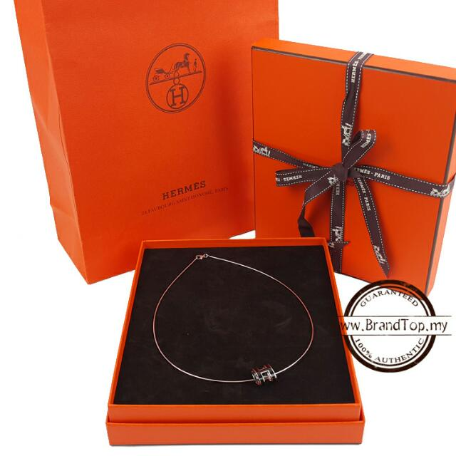 Auth Brand New Hermes Pop H Necklace Black With Silver