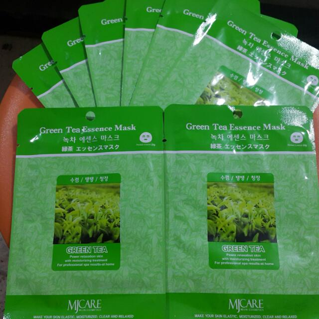 Masker Murah Original Korea Mj Care Mask Green Tea Masker Wajah Topeng Teh Hijau Health Beauty On Carousell