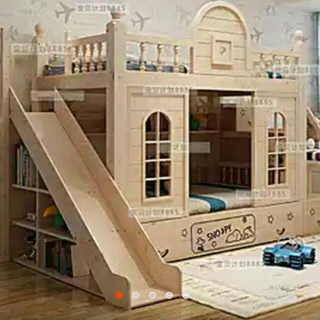 Awesome Real Wood Kids Bunk Bed With Slide And Storage Space 2 Coconut Mattresses Furniture On Carousell