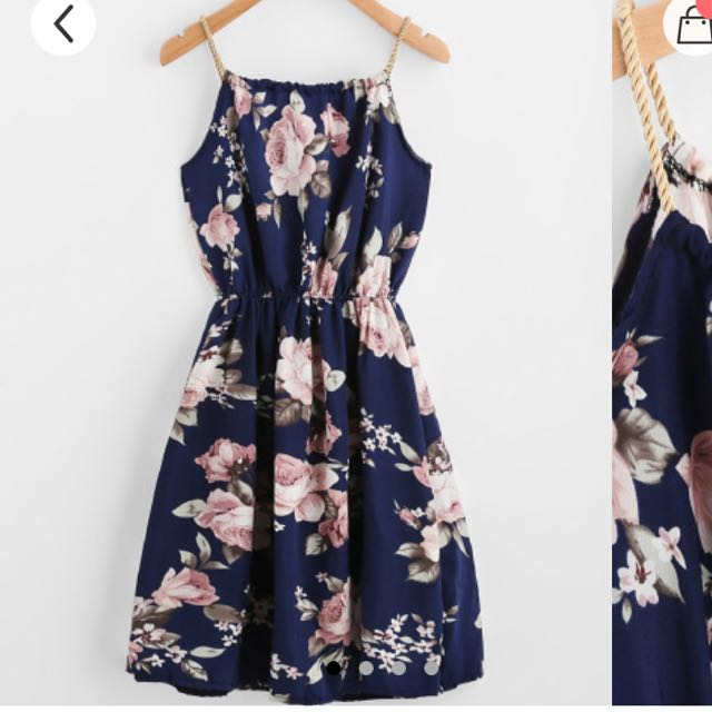 Navy Blue Floral Dress  ROMWE   Women s Fashion  Clothes  Dresses     Navy Blue Floral Dress  ROMWE   Women s Fashion  Clothes  Dresses   Skirts  on Carousell