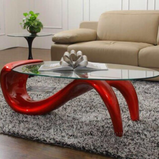 designer mermaid tempered glass coffee table metallic red