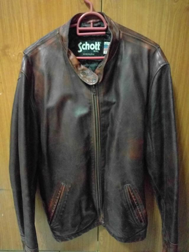 9a6ba8bee7e Schott N Y C Cafe Racer Leather Jacket Men S Fashion Clothes