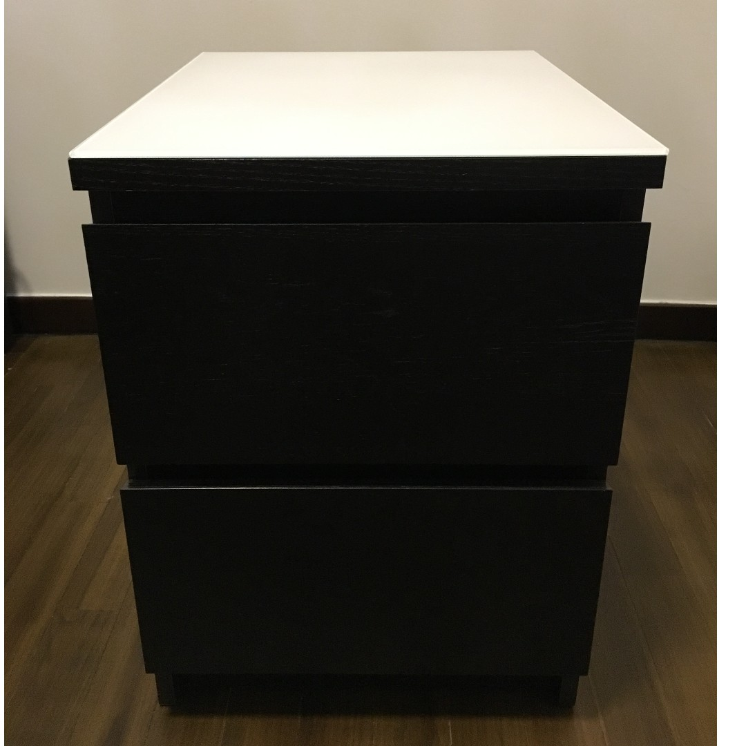 Used Ikea Chest Of 2 Drawers Malm Black Brown Color