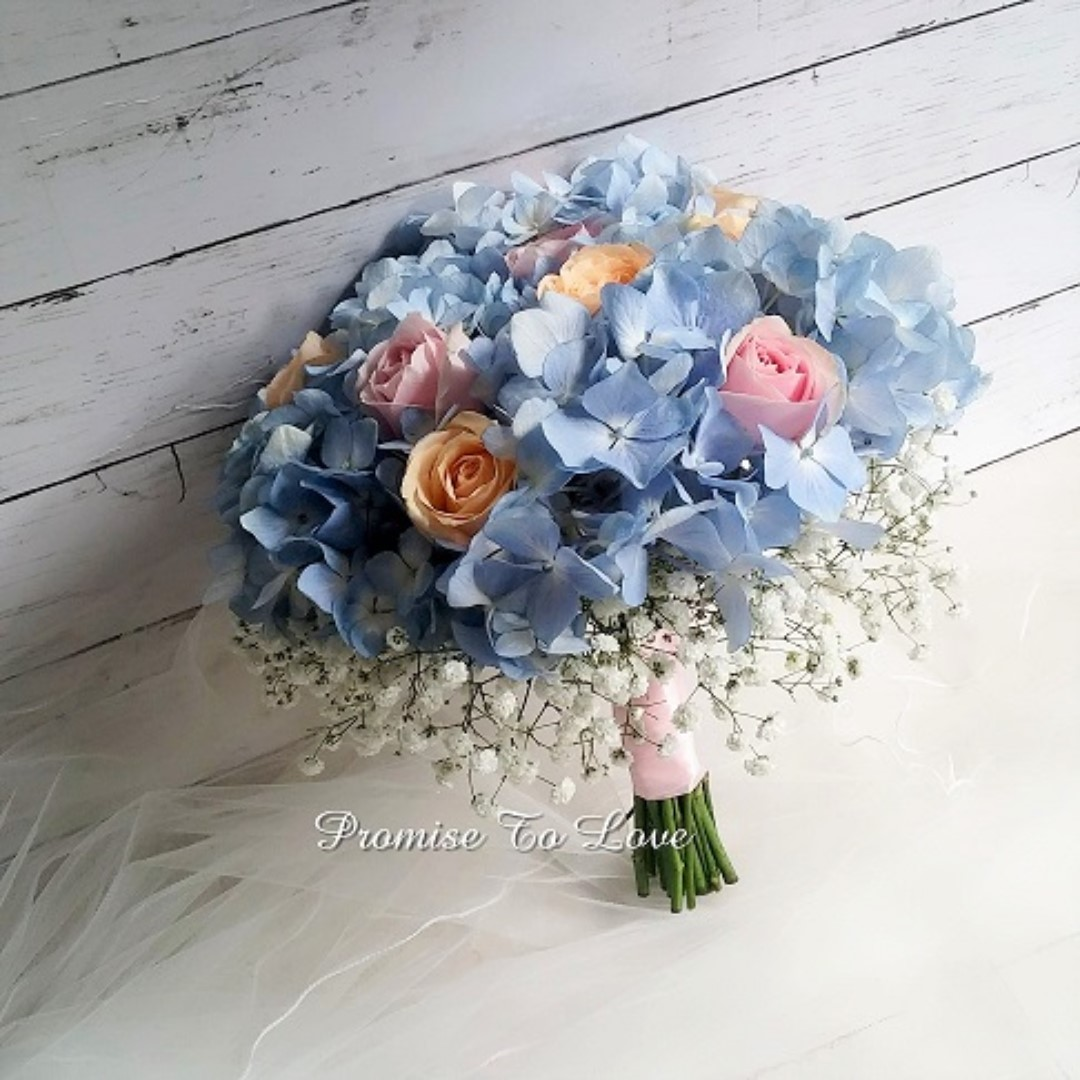 Rustic Fresh Roses With Hydrangea Hand Bouquet Wedding Rom Bridesmaid Proposal