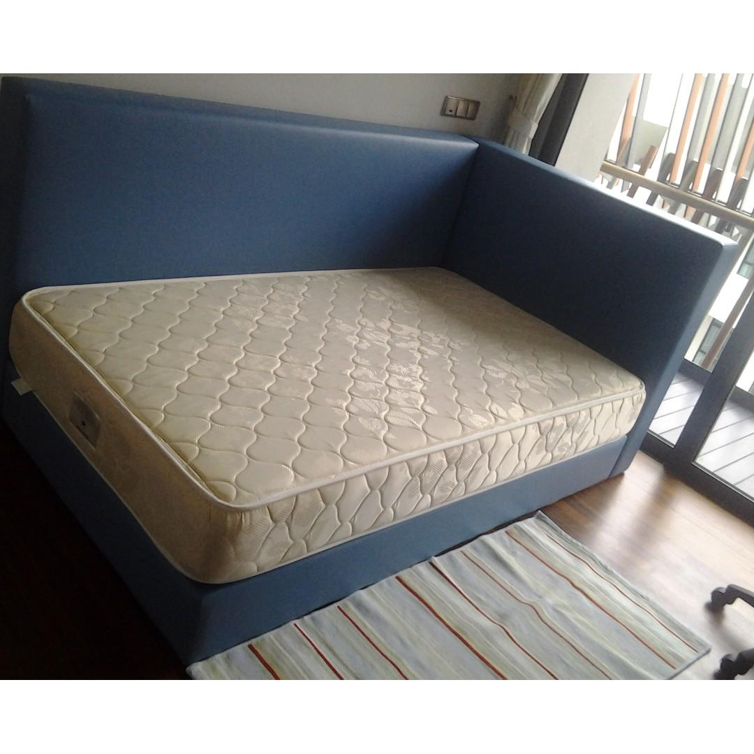 L Shape Platform Bed Blue And Pink Colour Furniture Beds Mattresses On Carousell