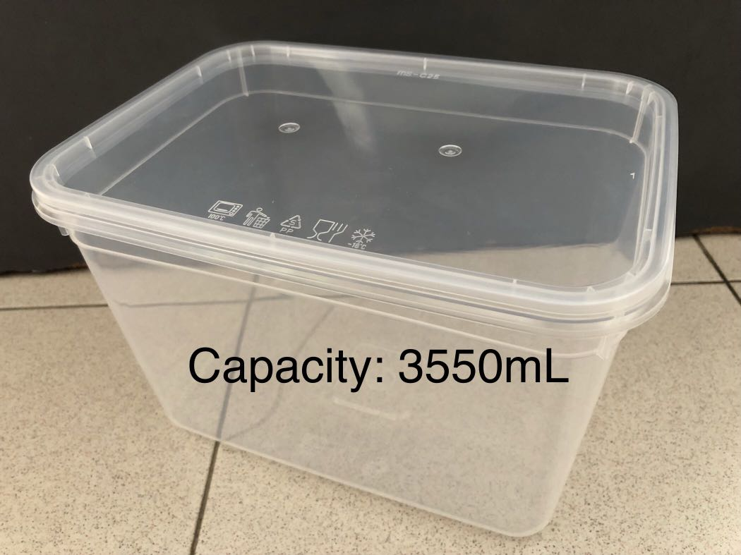 new storage microwave plastic container with matching lid capacity 3550ml